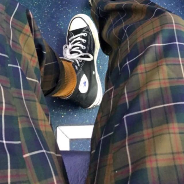 復古橄欖綠格子西裝褲