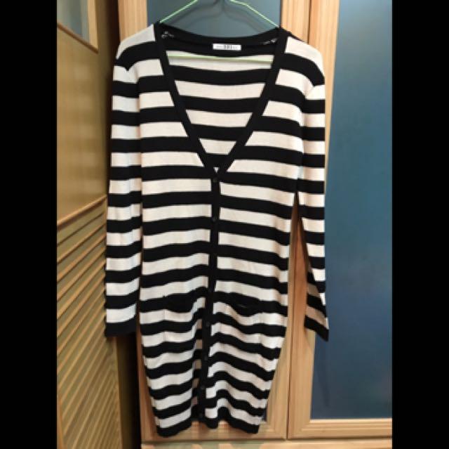 韓國製韓貨條紋長版針織外套
