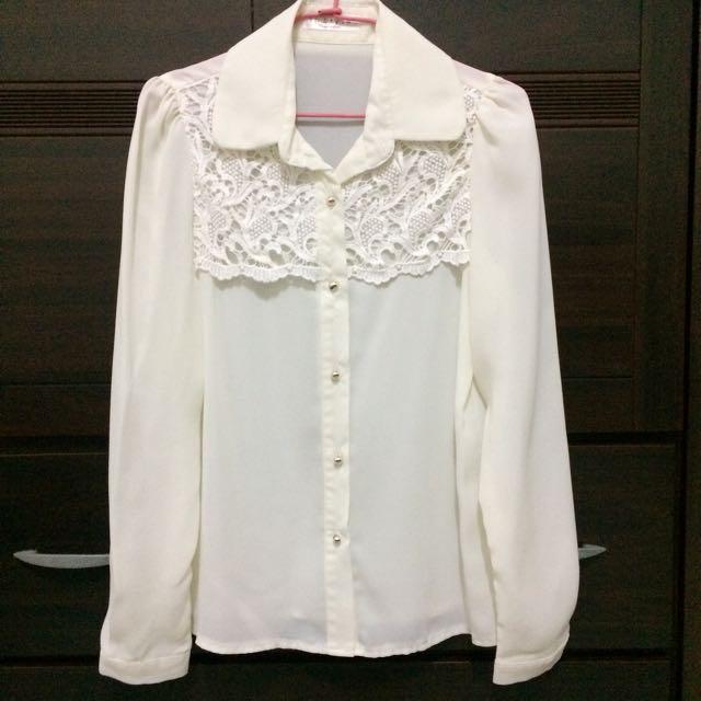 韓版米色蕾絲雪紡長袖上衣