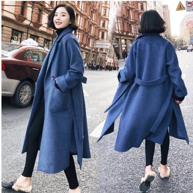 #新春八折 全新!♥️側開叉復古羊毛霧霾藍大衣