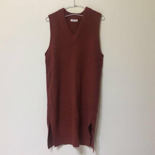 磚紅 針織連身裙