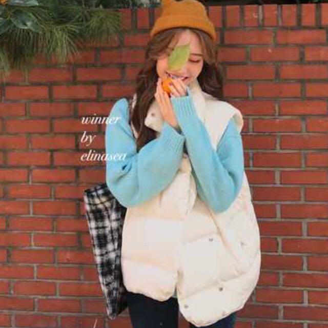 韓國麵包背心 白
