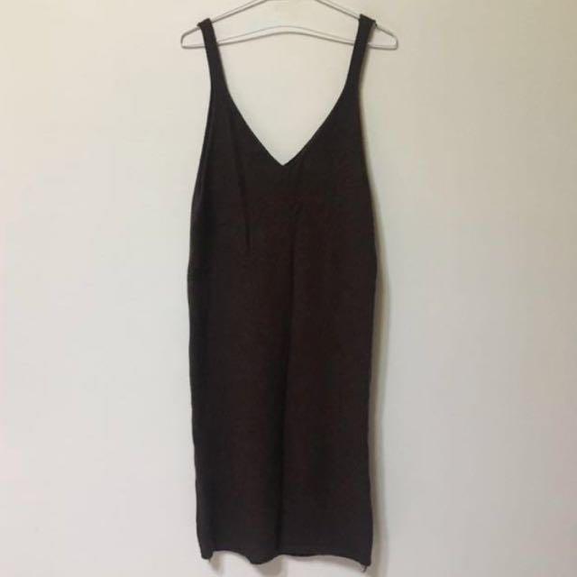 土棕色 針織連身裙 洋裝