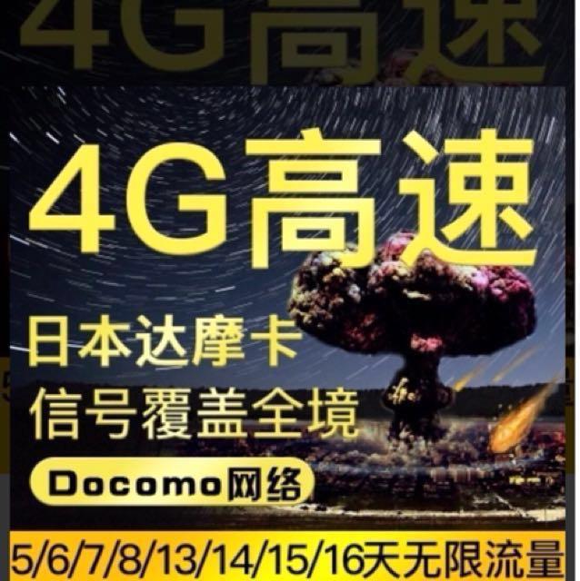 全新 日本 DOCOMO 4G 無限網卡 5天399 超高速不限速 買二送一