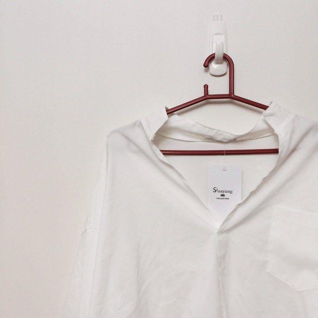 韓版 開襟 V領 OL 白色 襯衫 #新春八折