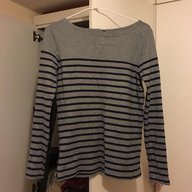 無印良品 MUJI 基本款灰藍條紋上衣