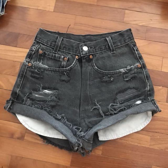 b8c1646c 🆕 UK4/6 LEVIS Washed Black Denim HWS, Women's Fashion, Clothes ...