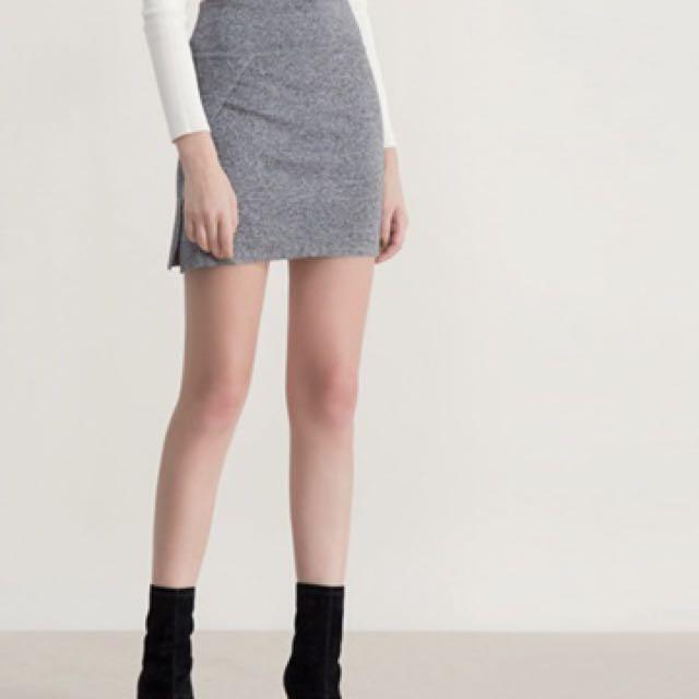 Air space 百搭針織交叉細針織窄短裙