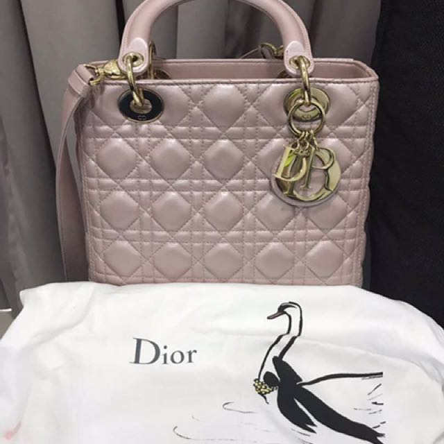 918627314360 Authentic Lady Dior Medium in Pearl Pink