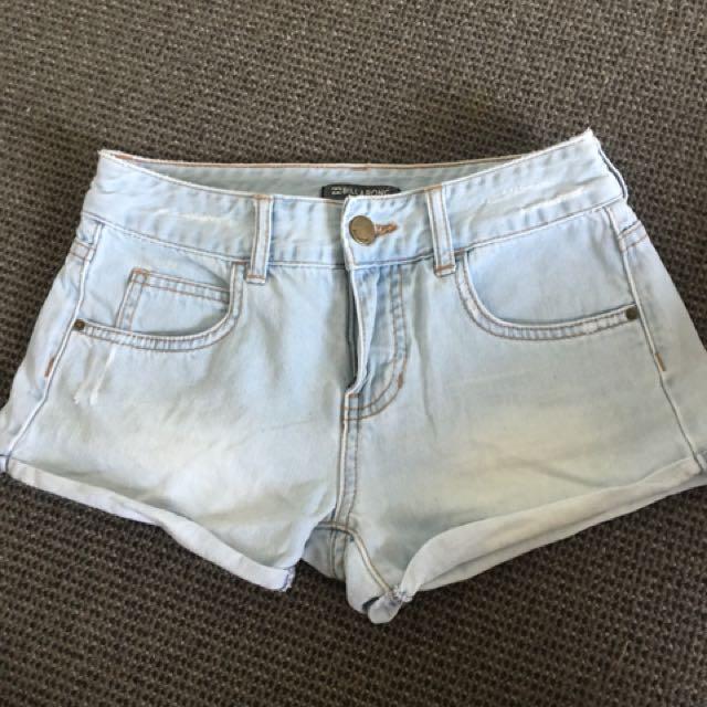 Billabong light blue denim shorts size 6