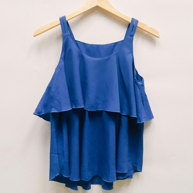 Blue peplum blouse