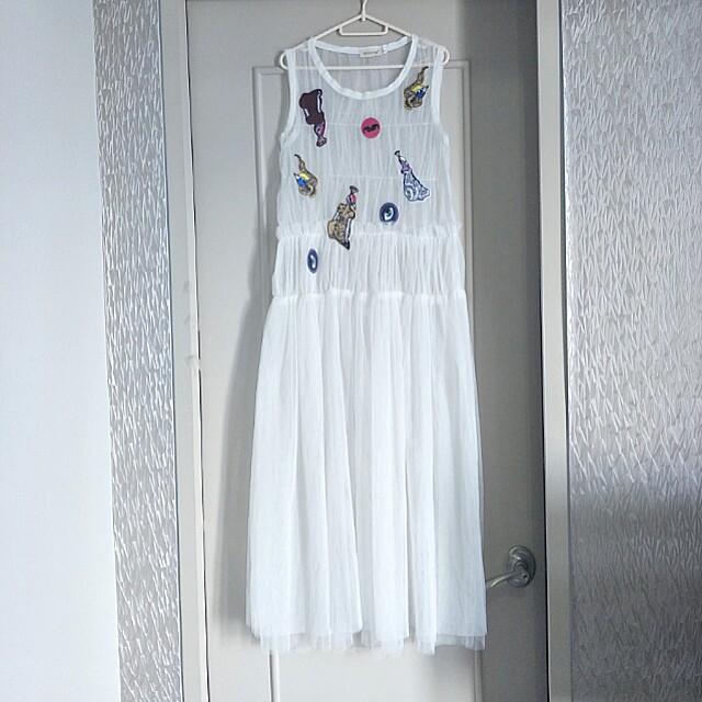 BNEW High-quality sheer white dress