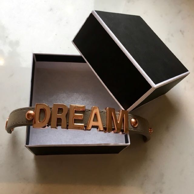 "*BRAND NEW *BCBG rose gold color and grey suede adjustable strap""DREAM"" bracelet with gift box **#perfect Valentines Day gift"