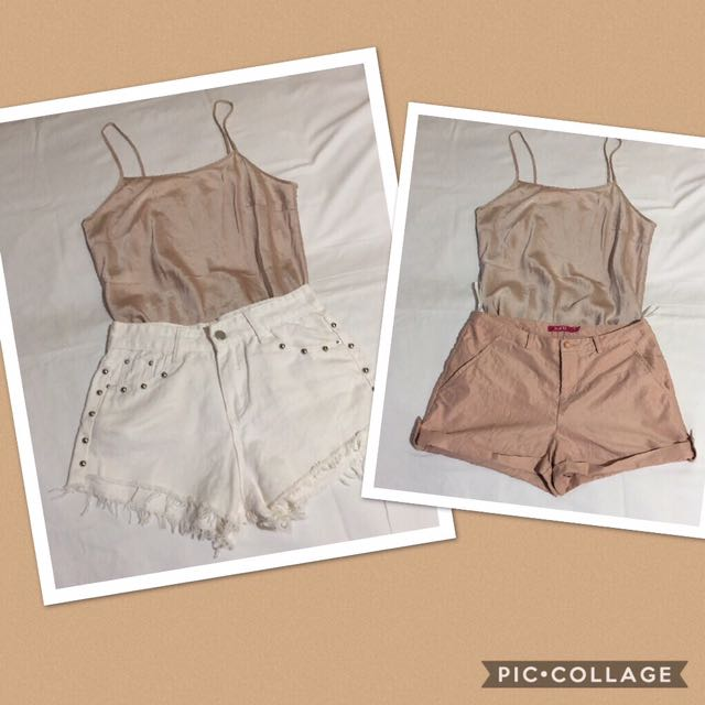 (Bundle of 3) satin nude top & white denim & nude shorts