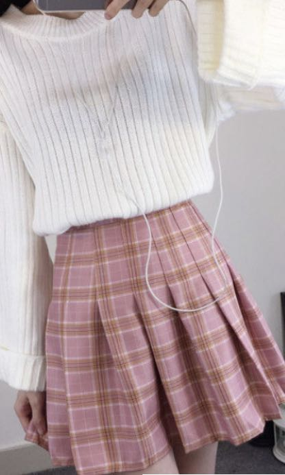 CUTE HOT SEXY PINK SCHOOL MINI SKIRT ALINE TRENDY 2018 PRETTY PLEATED CHECKERED BABY PINK BRAND NEW KOREAN FASHION ASIAN TIGHT WITH SHORTS ZIPPER FOLDED COTTON CASUAL TEENAGER