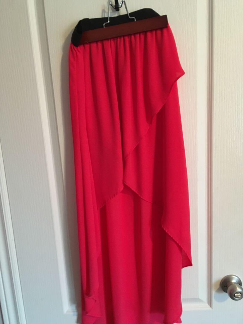 Dark pink high-low skirt