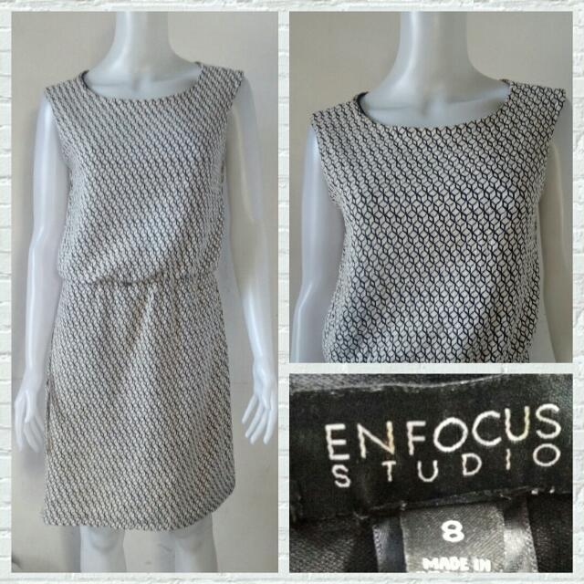 Enfocis Studio Black & White Printed Dress