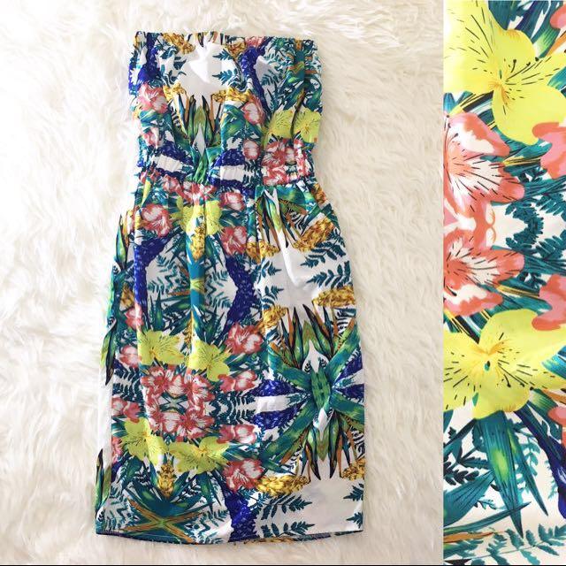 Floral Tube Midi Dress
