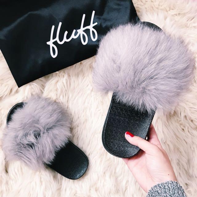 Fluff Fur Slides Grey