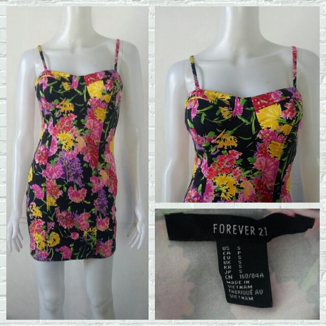 Forever 21 Floral Bodycon Bustier Dress