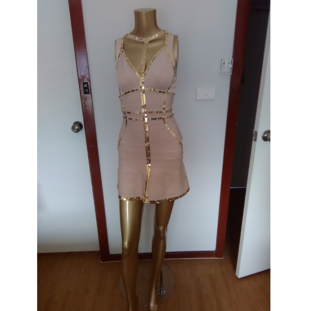 GASP Designer Nude with Sequins  Bandage Mini Party Formal Club Dress Size AUS 12/L