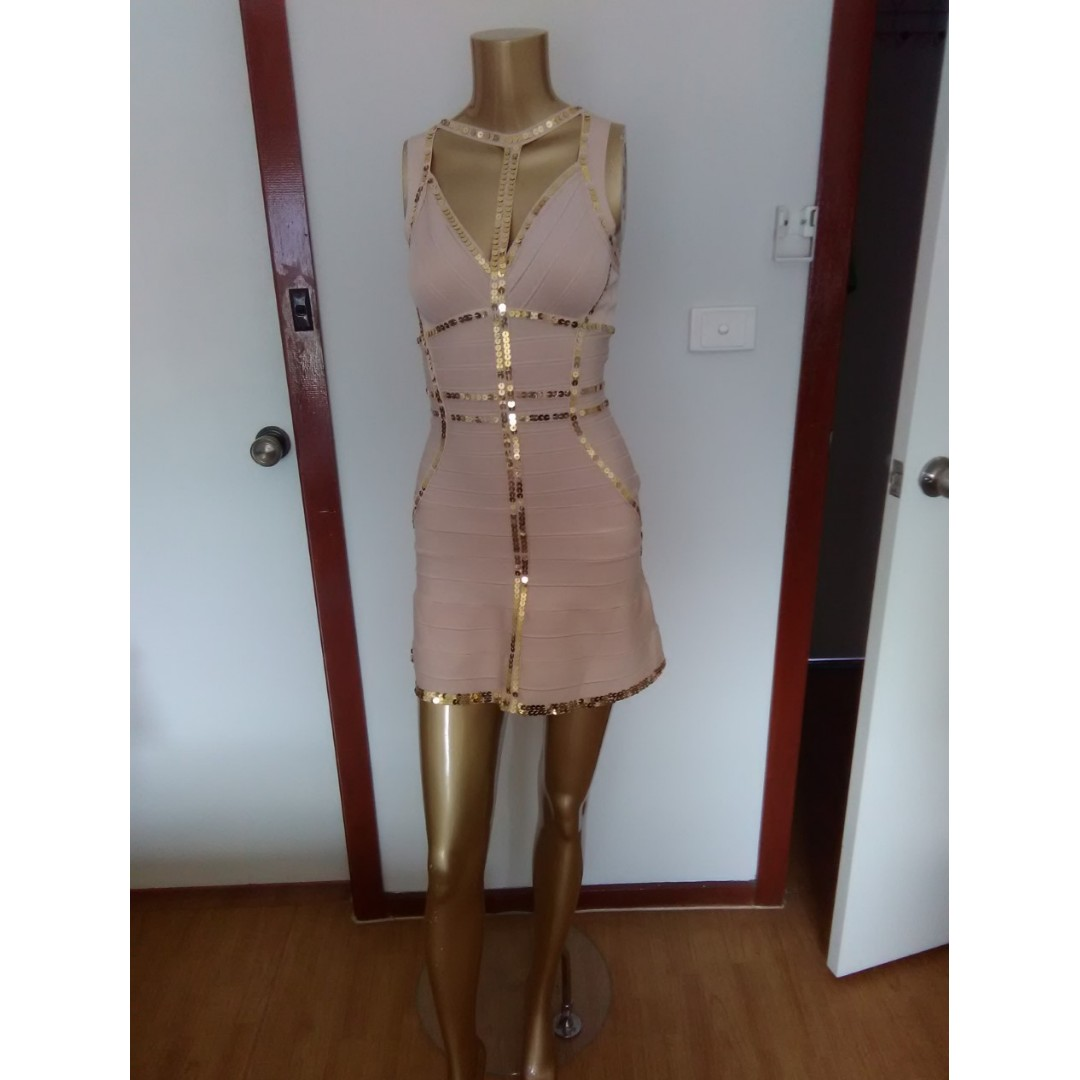 GASP Designer Nude with Sequins  Bandage Mini Party Formal Club Dress Size AUS 8/S