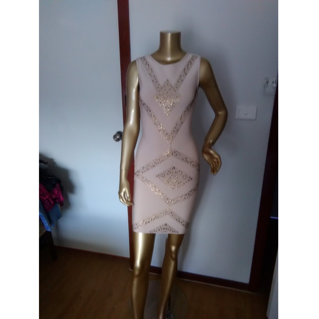 GASP Designer Nude with Studs Bandage Mini Party Formal Club Dress Size AUS 10/M