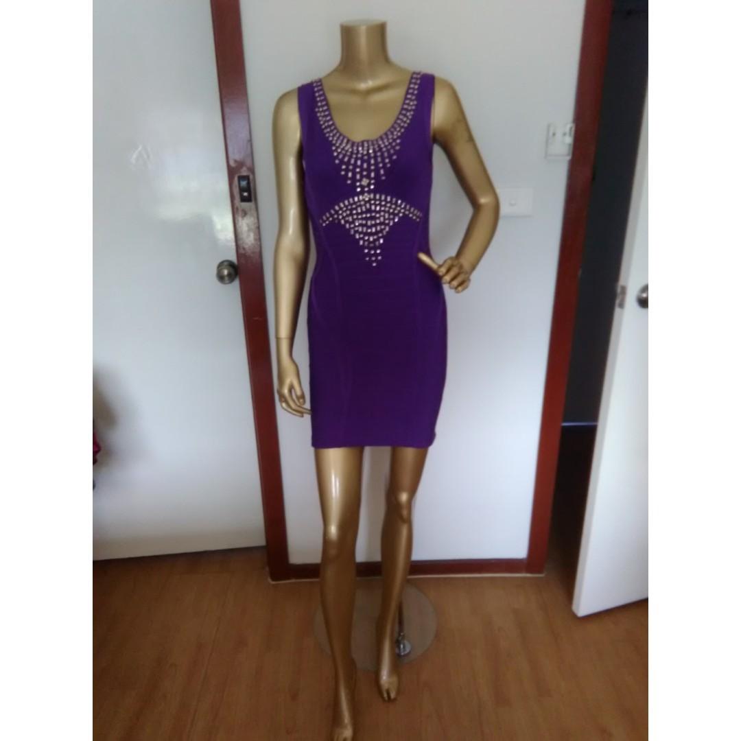GASP Designer Purple Bandage Mini Party Formal Club Dress Size AUS 8/S