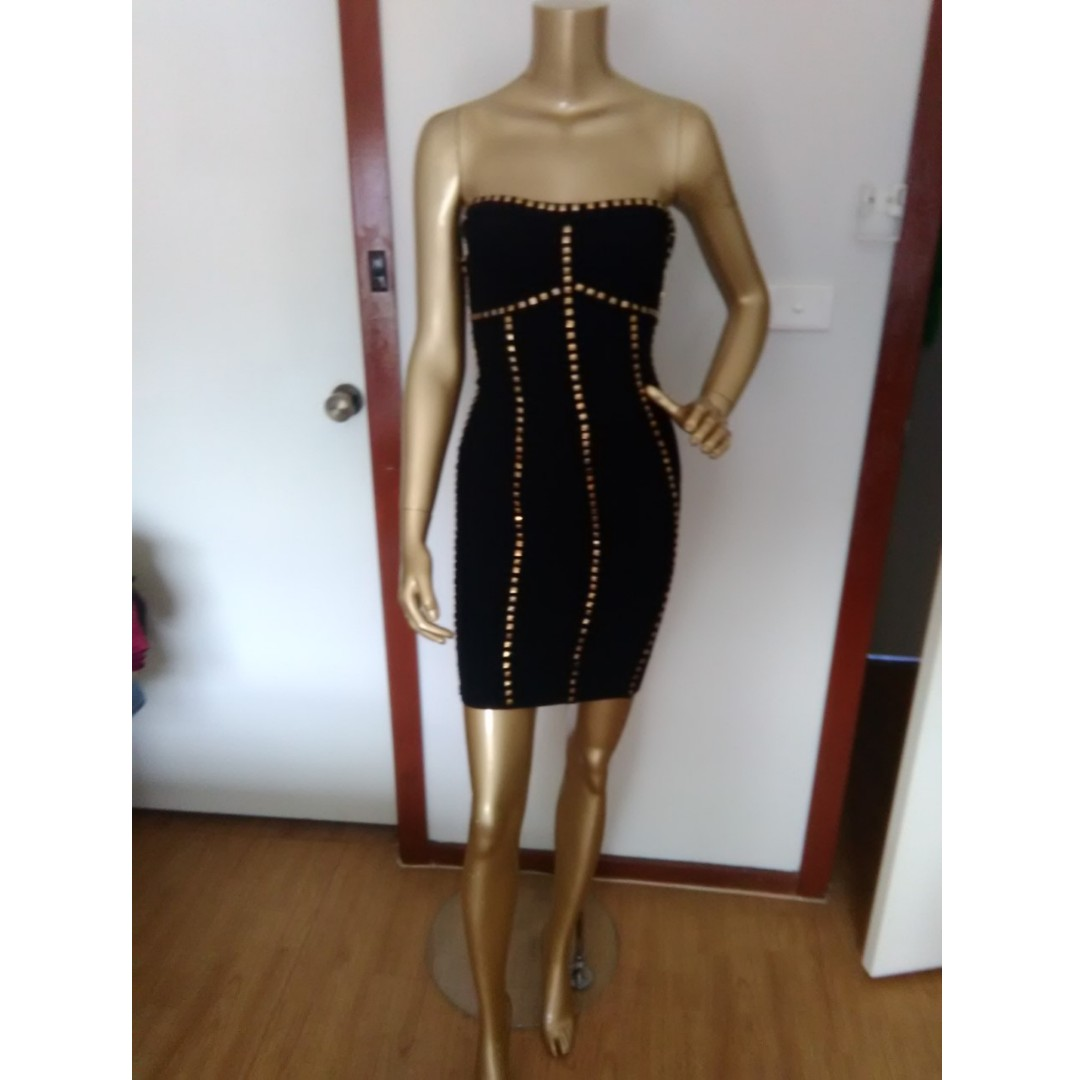 GASP Designer Strapless Black with Gold Studs Bandage Mini Party Formal Club Dress Size AUS 8/S