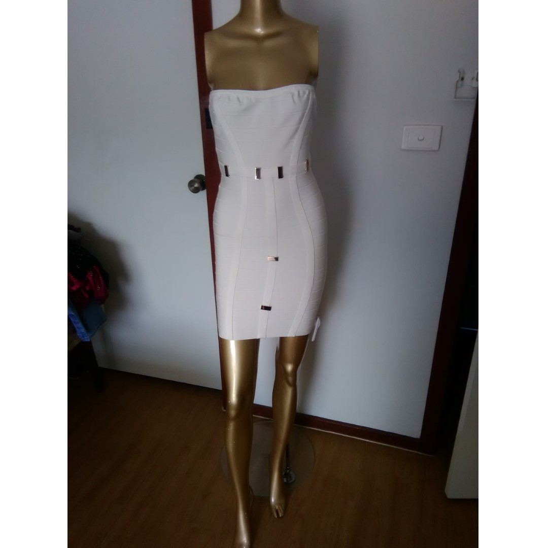 GASP Designer White Strapless with Gold Clips Bandage Mini Party Formal Club Dress Size AUS 12/L
