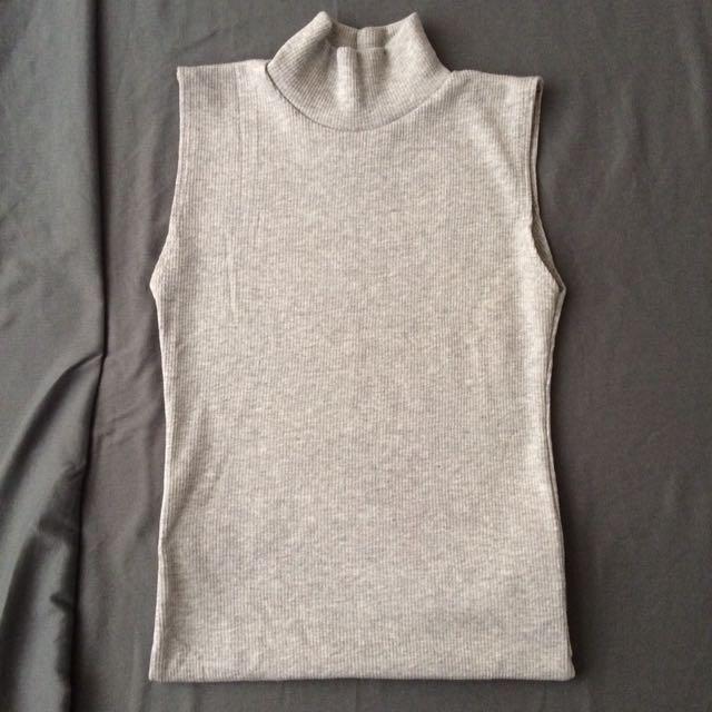 Gray Turtleneck Top