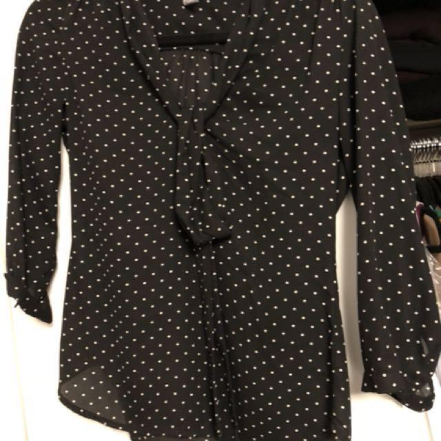 H&M polka dot chiffon shirt with bow