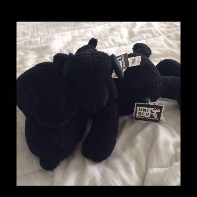 Kaws x Uniqlo Black Snoopy Plush