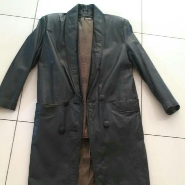 Knee Length Leather Coat