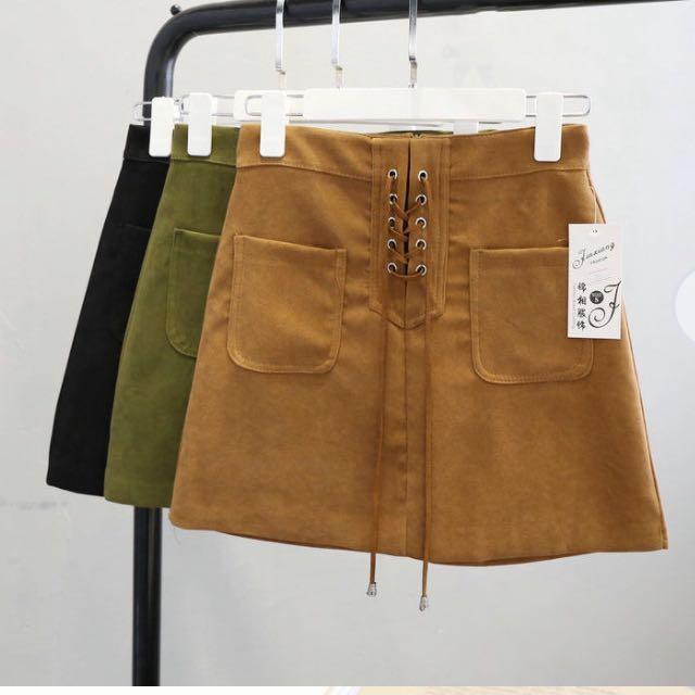 Lace Up Mini Skirt- Kharki
