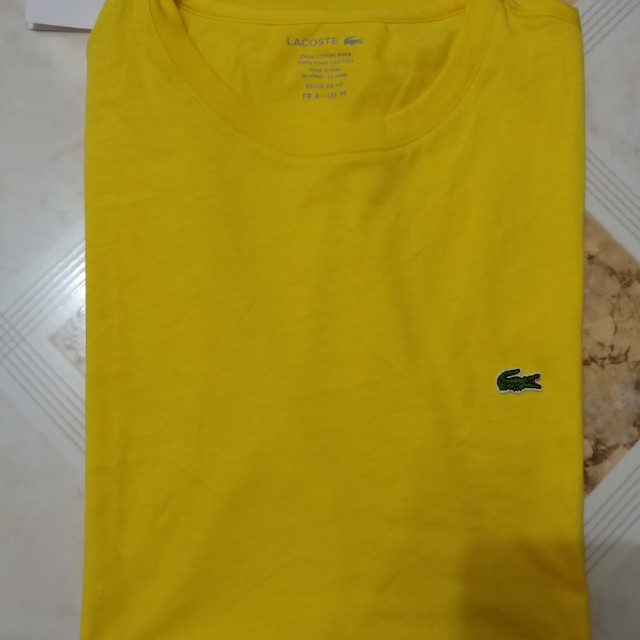 Lacoste Crew Neck Shirt Size 4 Medium Yellow