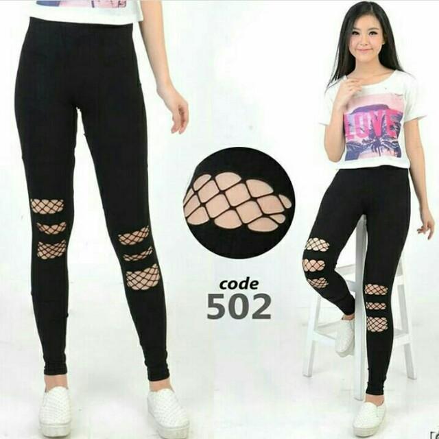 Leging Import Motif Sobek Leging Jaring Leging Soft Katun Leging Fashio Olshop Fashion Olshop Wanita Di Carousell