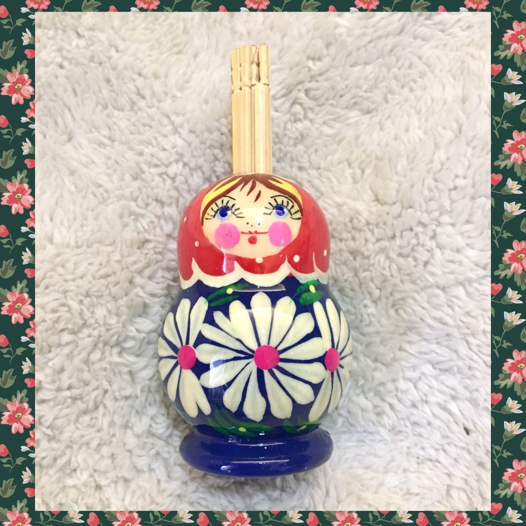 Lithuania)  Russian Doll Personal Toothpick Holder (Blue)