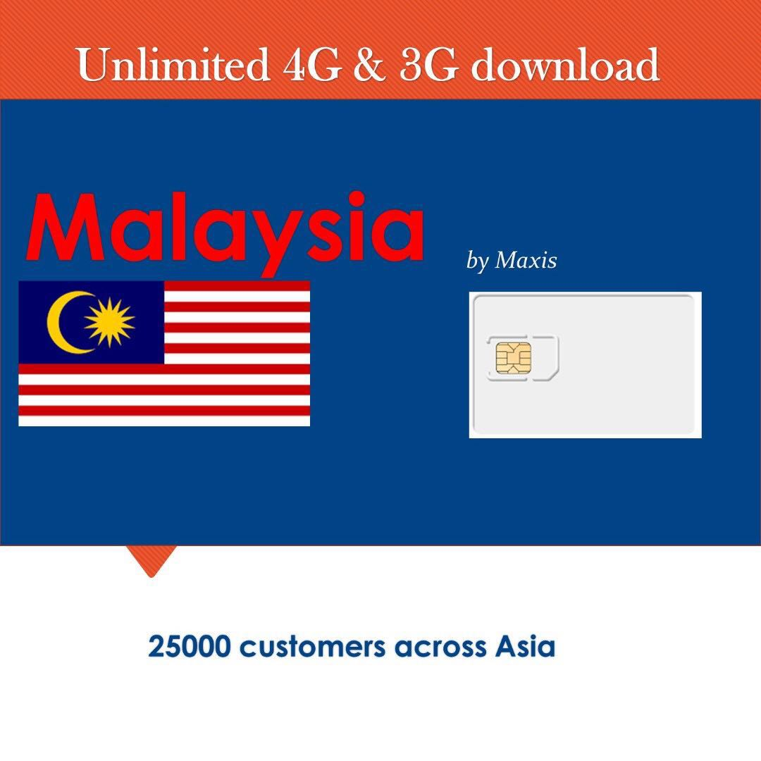Malaysia Sim Card unlimited 4G/3G data connection. 1GB-5Gb also available