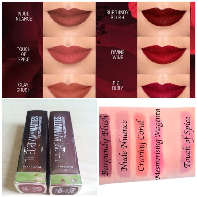 MAYBELLINE The Creamy Mattes Lipstick [ code: burgundy blush & touch of spice ]