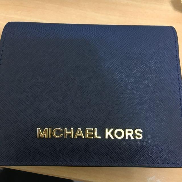 MK短夾深藍錢包