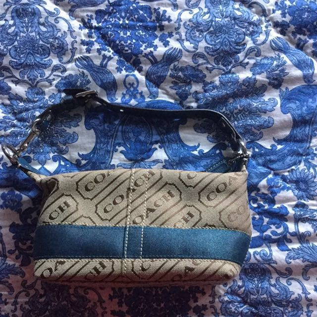 Navy and Light Brown Coach Bag
