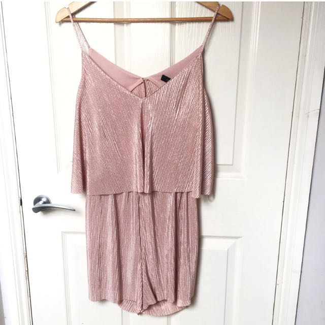 Pink Gold Cringe Playsuit