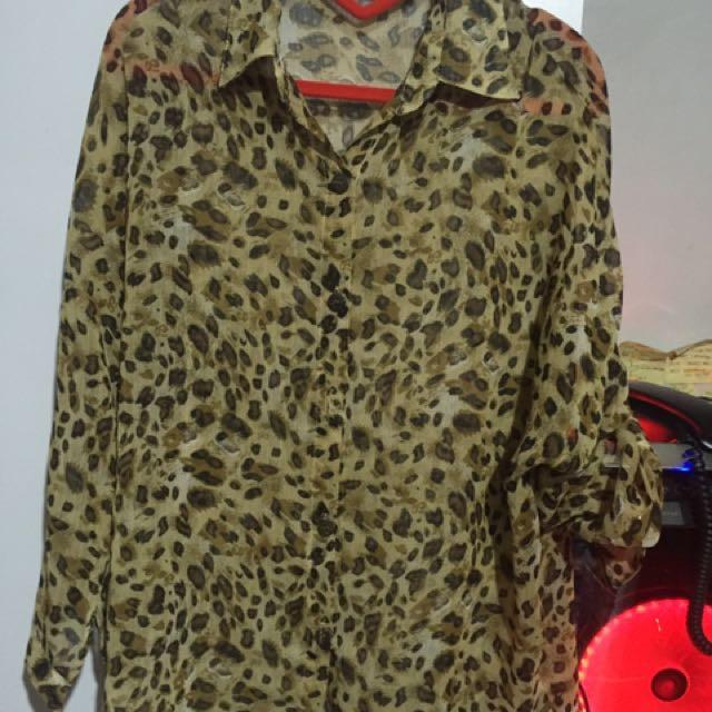 Plussize Leopard Polo