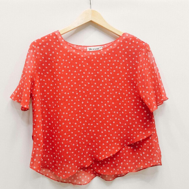 Red floral chiffon blouse