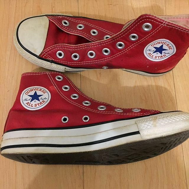 Red Leather Converse Shoes