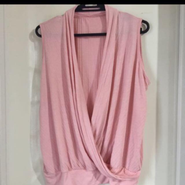 Repriced blush drape top 100