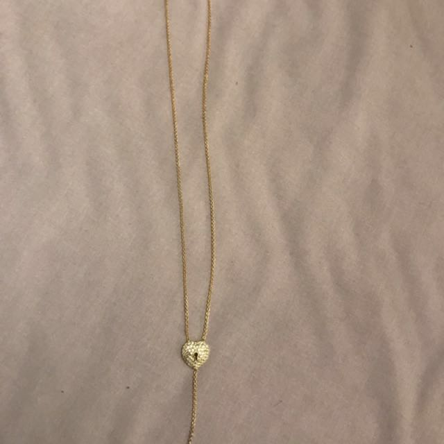 Rose gold heart and key necklace