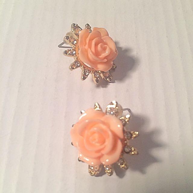 Rose/gold/diamond Style Earrings