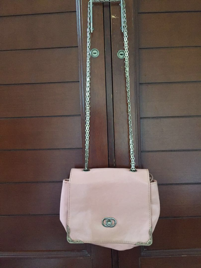 sling bag chain pink peach